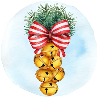 Watercolor hand drawn jingle bells decoration