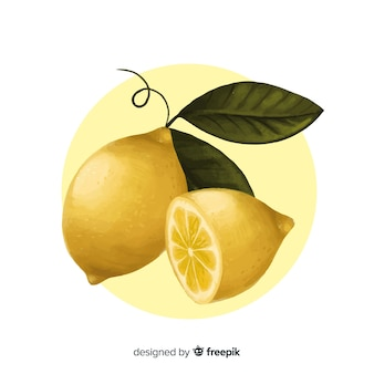 Watercolor hand drawn lemon background