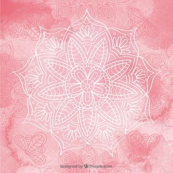 Watercolor hand drawn mandala pink background