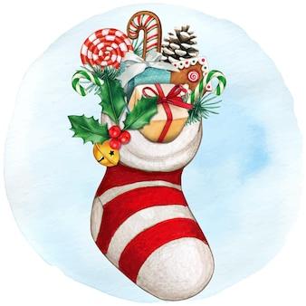 Акварельная рука нарисованная рукавица, полная подарков и угощений