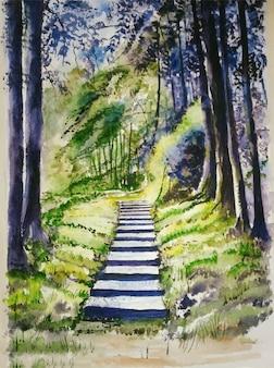 水彩手描きの自然と美しい木のイラスト