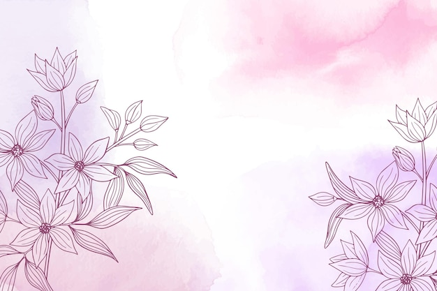 Watercolor hand drawn nature background