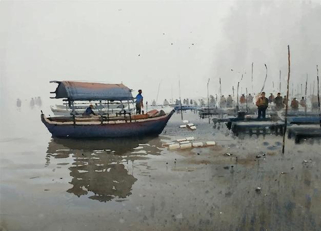 美しいボートのイラストと水彩手描き自然風景