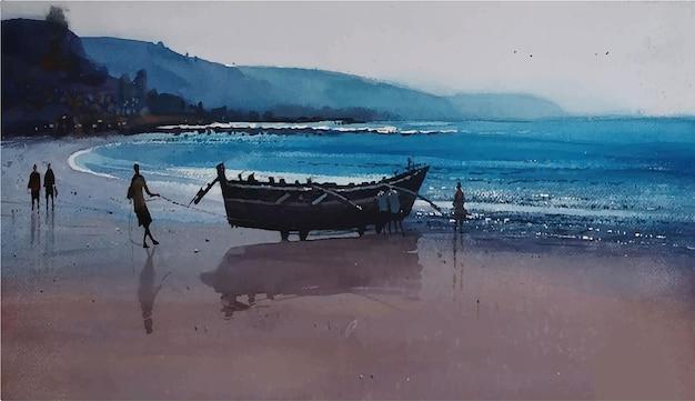 美しい海のイラストと水彩手描き自然風景