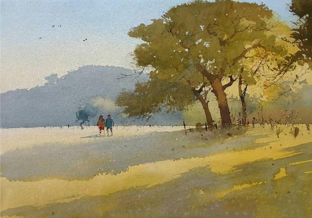 Акварель рисованной природный пейзаж с красивой иллюстрацией дерева