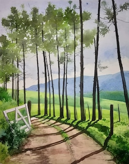 道路風景イラストの中に美しい木と水彩手描きの自然