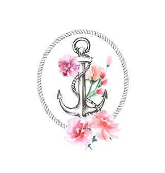 Watercolor hand drawn nautical marine floral illustration with anchor rope and flower bouquet