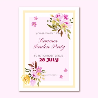 Watercolor hand drawn party invitation