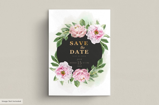 Watercolor hand drawn peonies invitation card