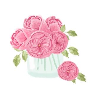 흰색 배경에 고립 된 유리에 수채화 손으로 그린 핑크 영어 장미 꽃다발