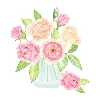 절연 유리에 수채화 손으로 그린 핑크 영어 장미 꽃다발
