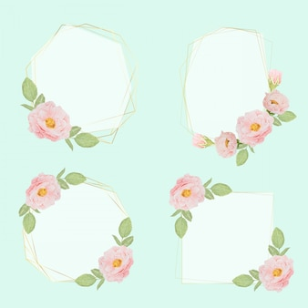 Watercolor hand drawn pink roses with luxury golden frame wreath collection