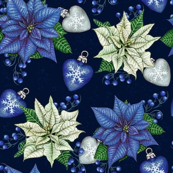 Watercolor hand drawn poinsettia christmas seamless pattern