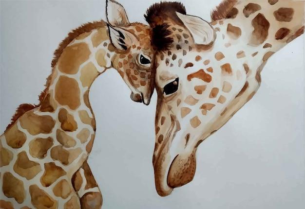 수채화 손으로 그린 세로 어머니 아기 기린 고립 된 그림