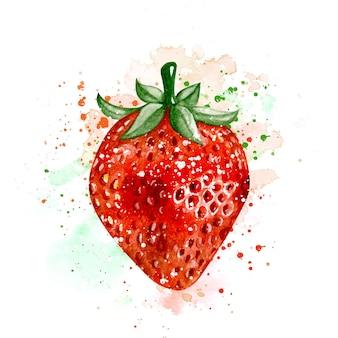 水彩手描きのリアルな新鮮なイチゴの果実