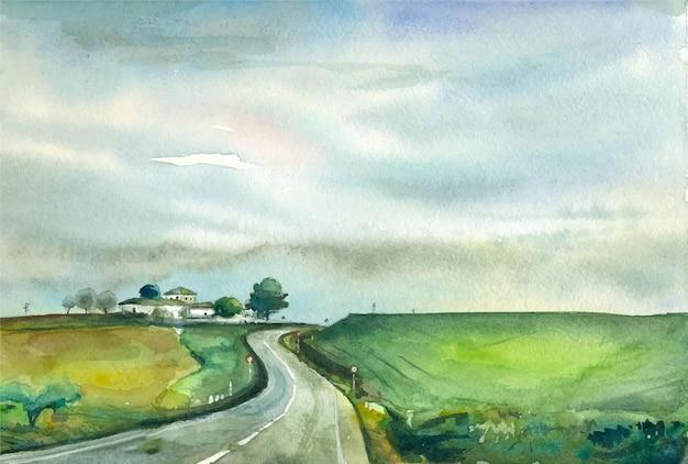 수채화 손으로 그린 풍경 고향 도로 그림