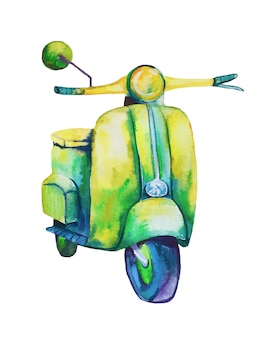 Watercolor hand drawn scooter.