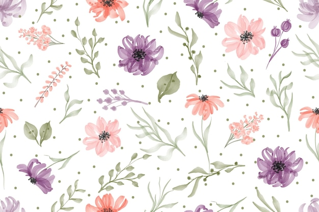 Watercolor hand drawn seamless pattern watercolor flower