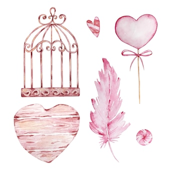 Watercolor hand drawn set of cage, feather and hearts isolated on white background