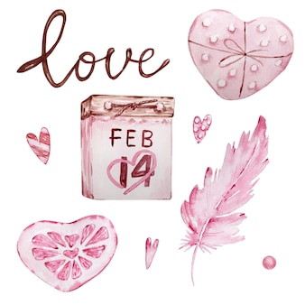 Watercolor hand drawn set of pink calendars, feather and sweet hearts isolated on white background
