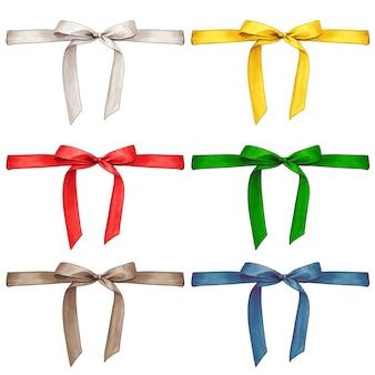 Watercolor hand drawn silk ribbon with bow