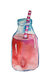 Watercolor hand drawn smoothies.