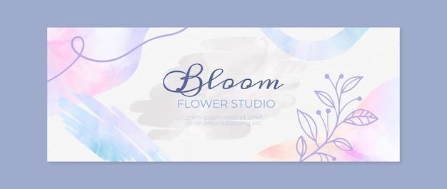 수채화 손으로 그린 소셜 미디어 표지 템플릿