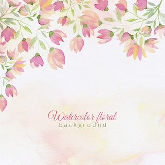 Watercolor hand drawn spring background