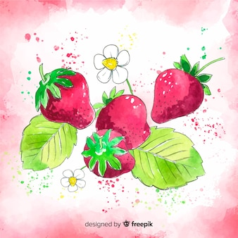 Watercolor hand drawn strawberry background
