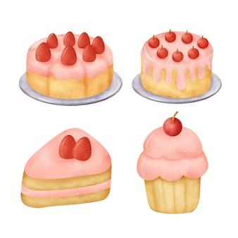 Watercolor hand drawn strawberry cake set.