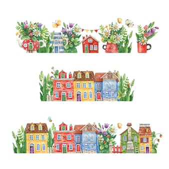 Watercolor hand-drawn streets with rural houses, summer flowers and herbs isolated on a white background. watercolor illustration with floral streets