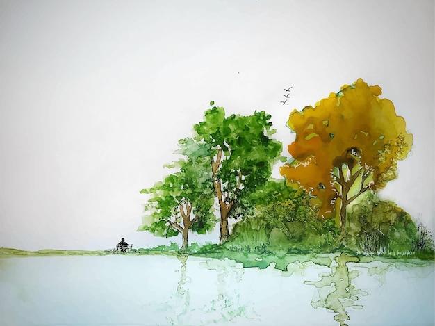 수채화 손으로 그린 여름 풍경