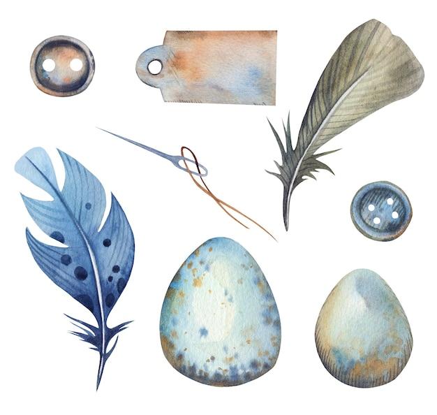 ボタン、針、羽と卵、紙のラベルがセットされた水彩画の手描きのテーラーショップ。