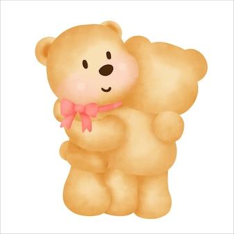 Watercolor hand drawn teddy bear .