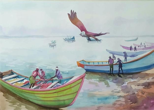 ビーチのイラストに水彩手描きタイボート