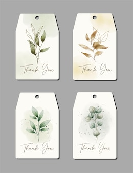 Watercolor hand drawn thank you card with plant template collection