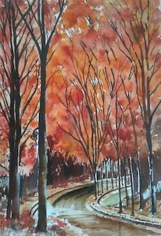 Акварель рисованной дерево, природа пейзаж иллюстрации