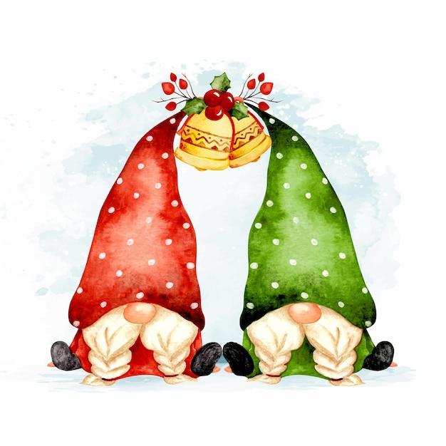 Акварель рисованной близнецов рождественских гномов