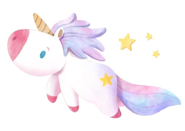 Watercolor hand drawn unicorn.