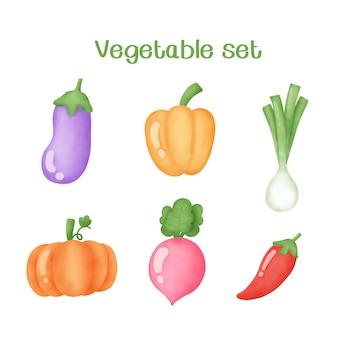 Акварель рисованной овощной набор