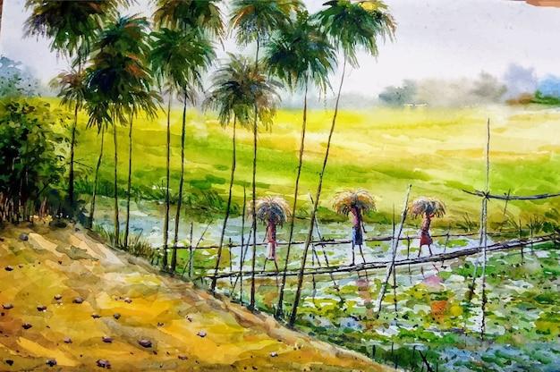 Watercolor hand drawn village nature illustration premium vector