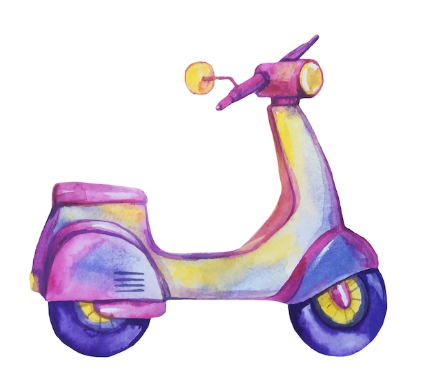 Watercolor hand drawn violet scooter.