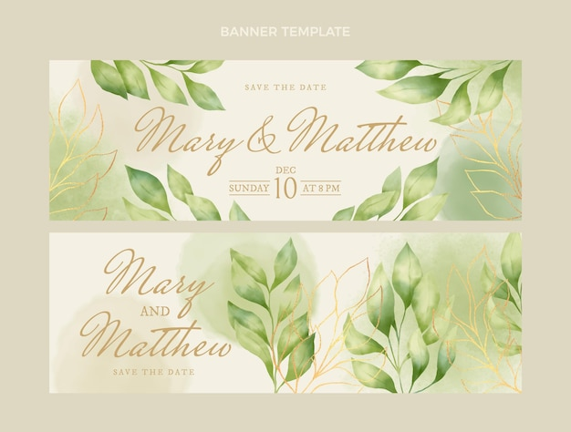 Акварельные рисованные свадебные баннеры горизонтальные