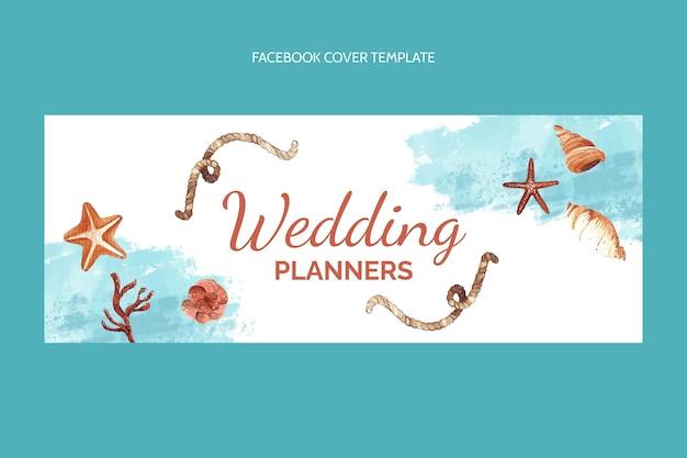 Watercolor hand drawn wedding facebook cover
