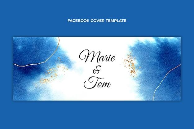 水彩手描きの結婚式のfacebookのカバー