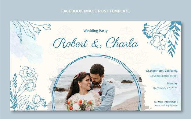 Post di facebook di matrimonio disegnato a mano dell'acquerello Vettore gratuito