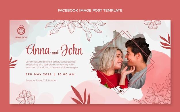 Post di facebook di matrimonio disegnato a mano dell'acquerello
