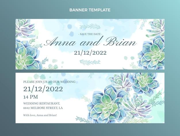 Акварель рисованной свадебные горизонтальные баннеры набор