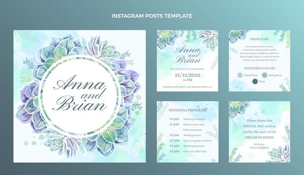 Collezione di post di instagram di nozze disegnati a mano ad acquerello