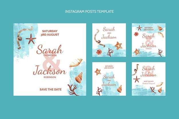 水彩手描きの結婚式のinstagramの投稿 無料ベクター